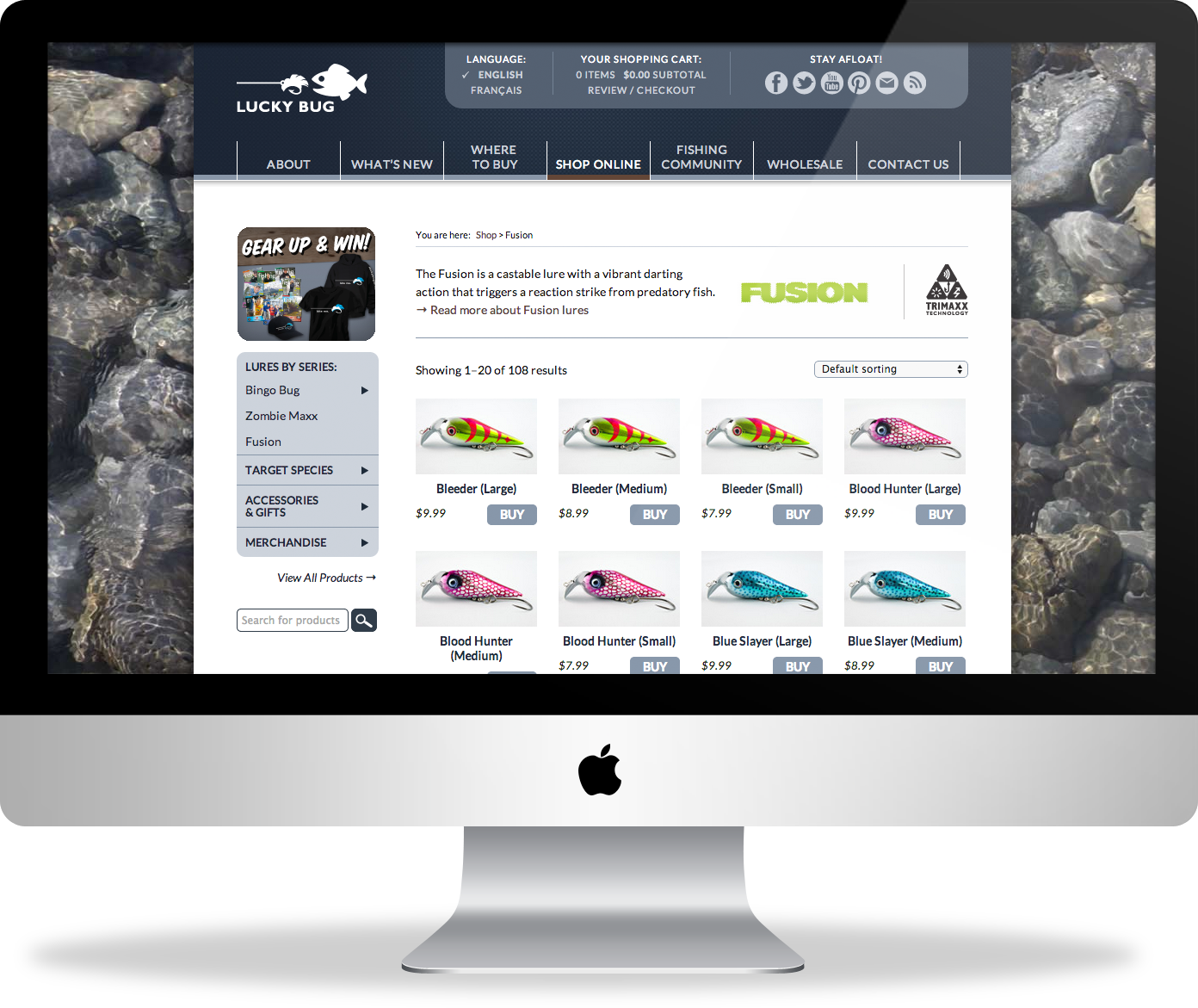 Lucky Bug Lures website design : e-commerce