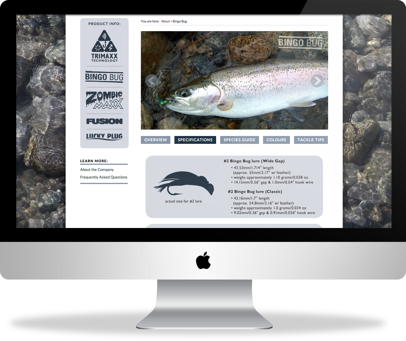 Lucky Bug Lures website design : product info pages