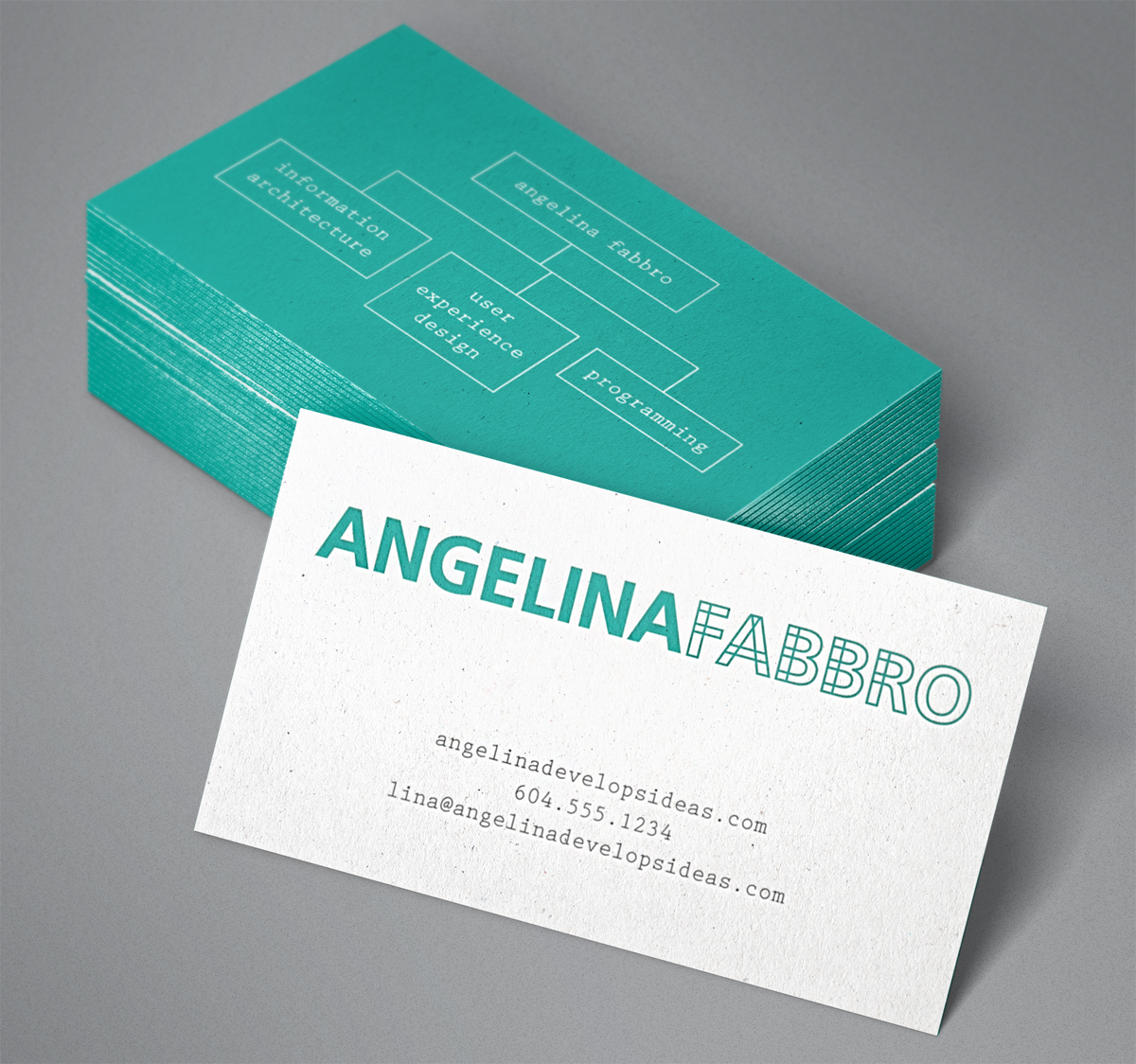Business card design for Angelina Fabbro