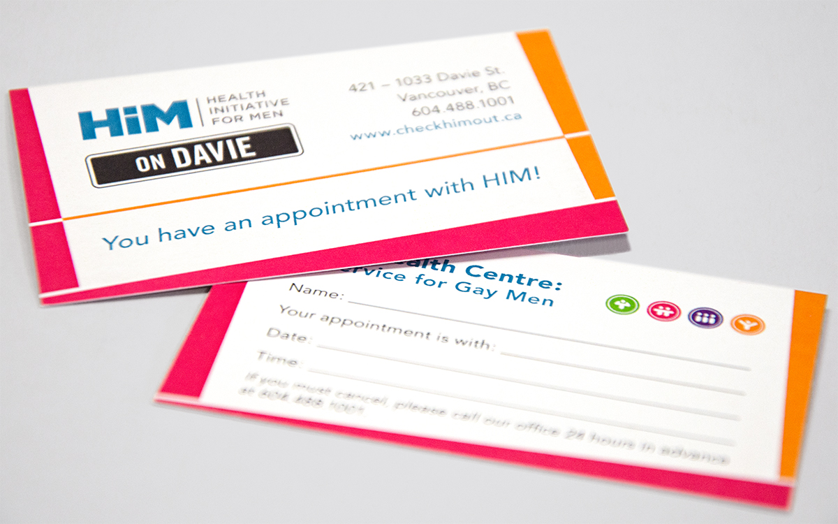 Appointment cards: HIM Health Clinics