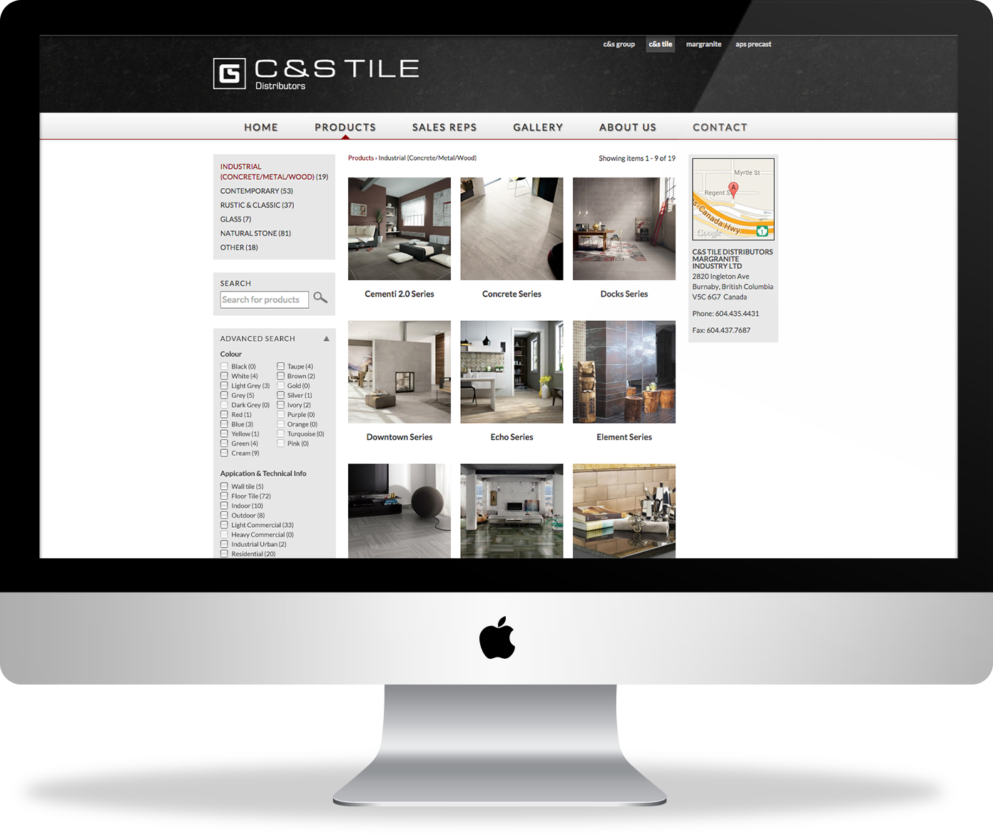 C&S Tile website - catalogue