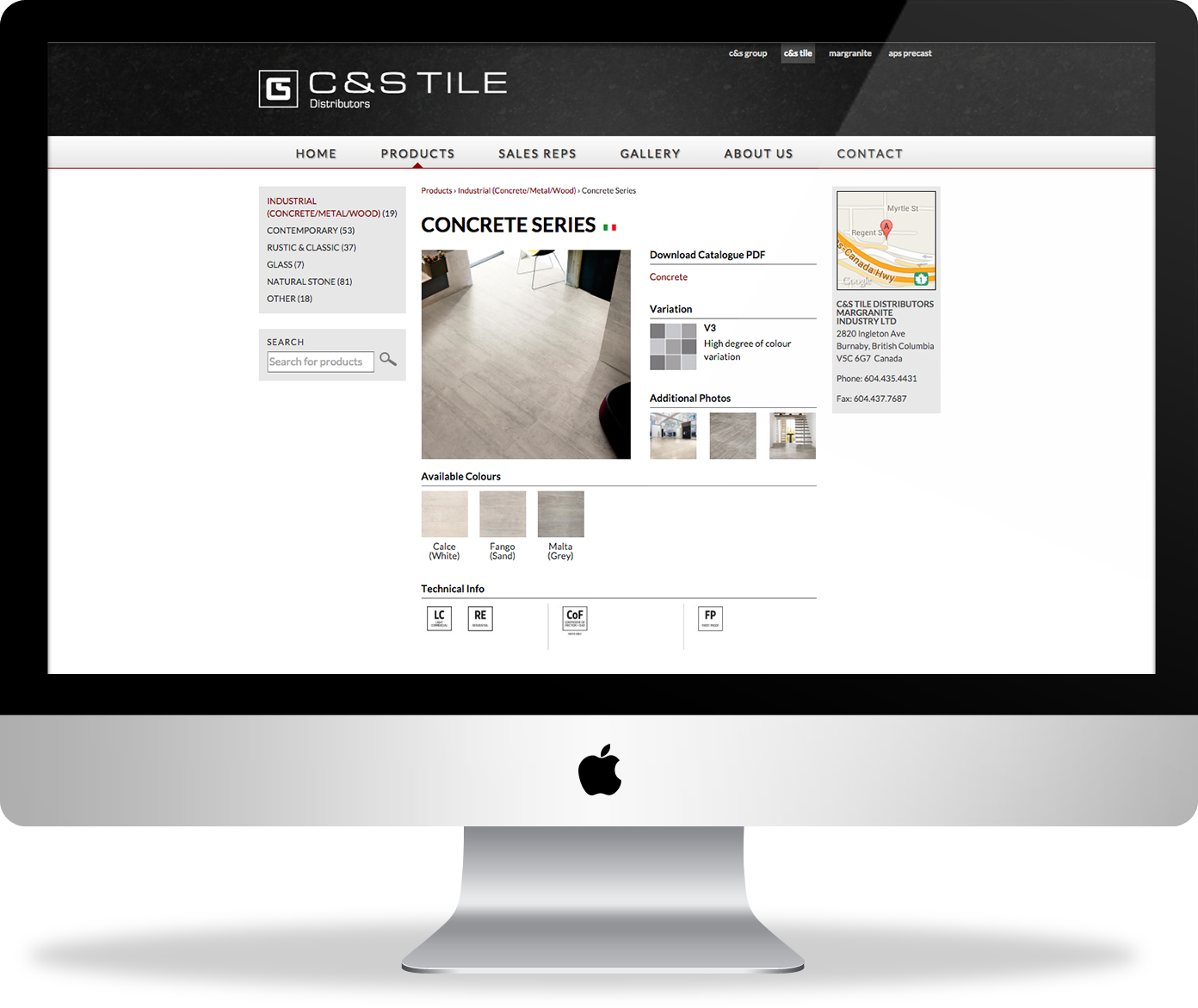 C&S Tile website - product page