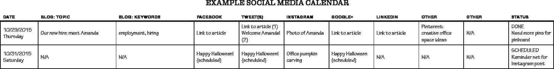 Social media calendar - example