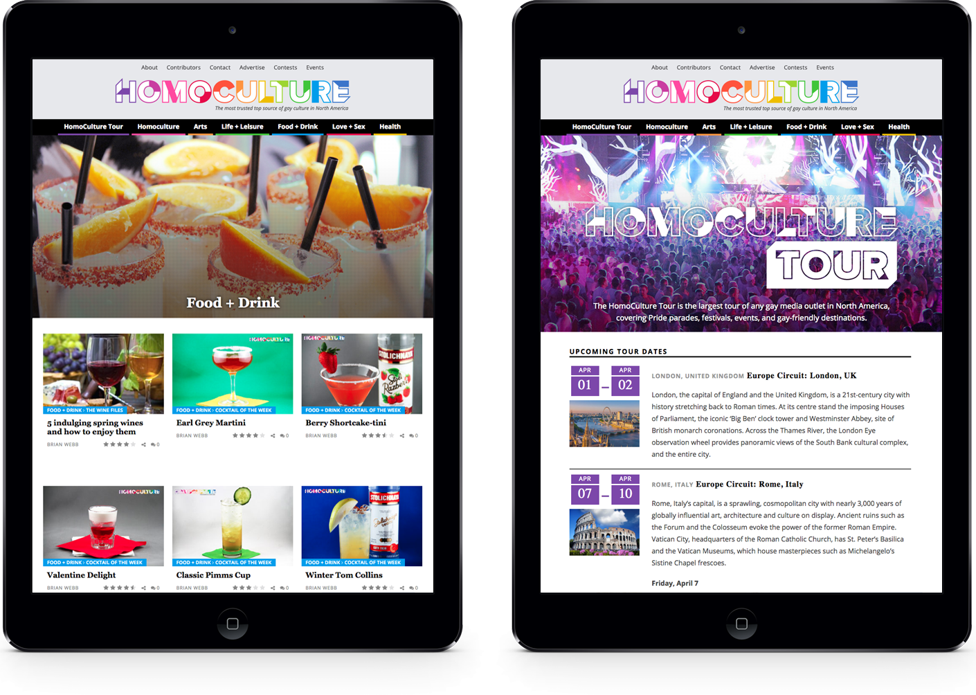 TheHomoCulture.com magazine style custom Wordpress design - tablet responsive view