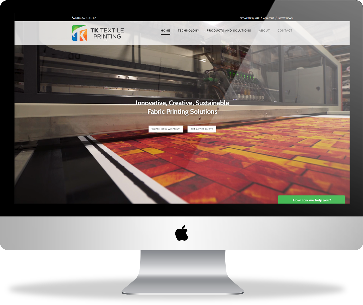 TK Textile Printing website homepage